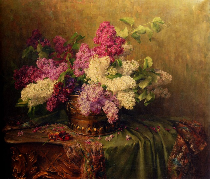 Borrowed from http://artpaintingartist.com/a-still-life-with-lilacs-and-violets-on-a-draped-guilt-rococo-table-by-clara-von-sivers/
